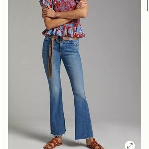 Anthro MOTHER High-Rise Frayed Flare Jeans